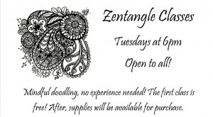 Zentangle Classes, every Tuesday evening at 6pm